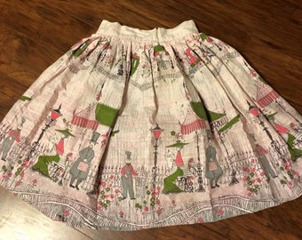 50s Novelty Border Scenic Print Skirt Vintage Cotton Pink Train XS Petite