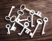 Home Decor Vintage Keys for Frame Display Memorabilia - Genuine Vintage Keys - Shabb Cottage Chic Wall Decor, 10 White Skeleton Keys (A-1)