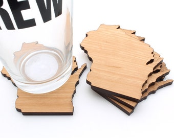 Wisconsin Coasters Laser Cut Wood Coaster Set of 4