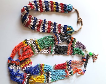 2 Vintage tribal ethnic multi beads Berber necklaces from Morocco