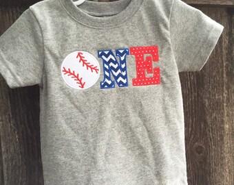 Baseball Theme First Birthday Shirt