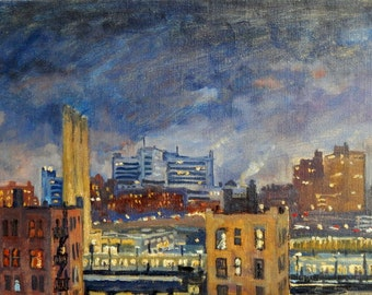 Night Glow, New York City Nocturne. 10x16 Oil Painting on Canvas, NYC Oil Painting, Urban Impressionist Plein Air Fine Art, Signed Original