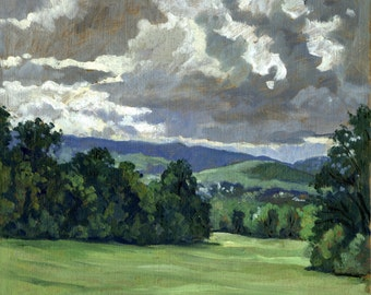 Summer Clouds, Northern Berkshires. Oil Painting Landscape, 8x10 Plein Air Impressionist Oil on Panel, Signed Original Realist Fine Art