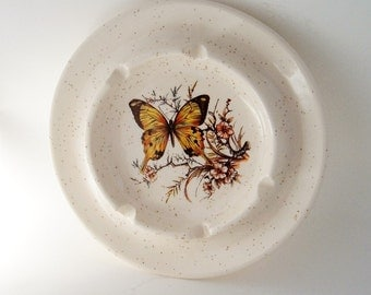 Vintage Ashtray Treasure Craft Made In USA Butterfly flowers splatter design Mod Mid Century Tobacco collectible