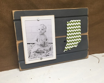 "Indiana chevron picture frame holds 4""x6"" photo CUSTOMIZABLE"