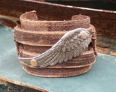 SILVER WING Distressed Leather Cuff 004R Boho Inspired Look