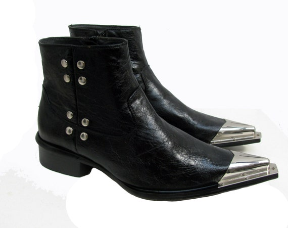 Metal Boot Tips : mens rock n roll western boots vintage black leather rocker ~ Hamham.info Haus und Dekorationen