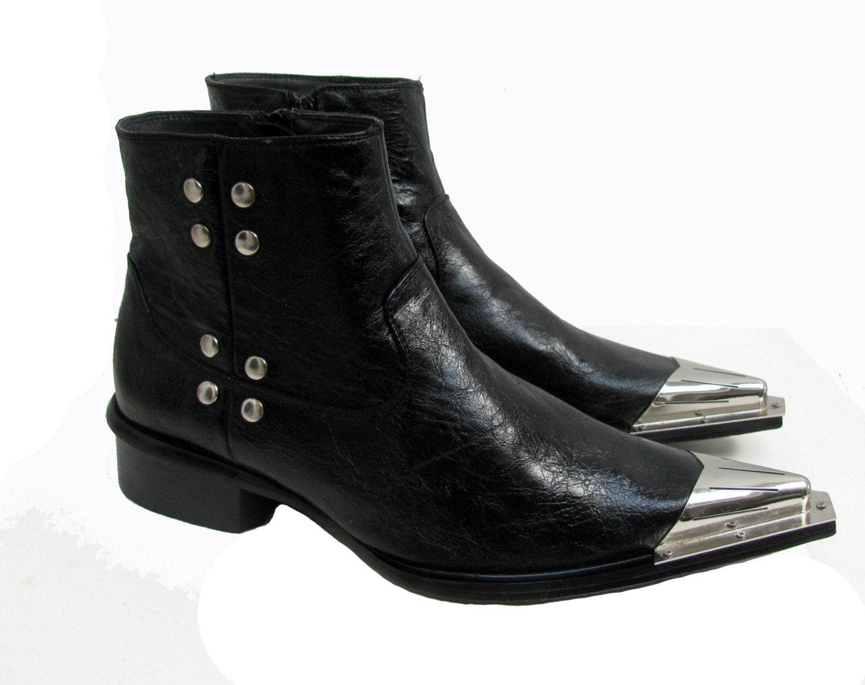 mens rock n roll western boots vintage black leather rocker