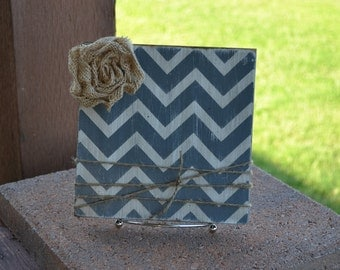 Chevron Frame Gray and White with Burlap Rose