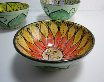 Ceramic Serving Bowl - Clay Pottery Bowl -  Red Orange Lotus Flower - Mandala Pattern - Majolica Pottery -  Kitchen Bowl -  Flower design
