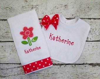 Monogrammed Bib and Burp Set with Hot Pink Flower for Baby Girl