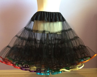 Black Tulle Petticoat with RAINBOW ribbon trim full fluffy vintage style petticoat
