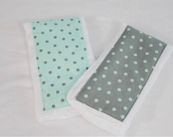 Grey and Aqua Polka Dot Burp Cloths - Set of 2