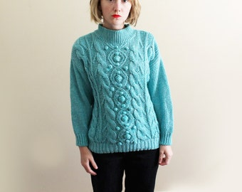 vintage sweater handknit turquoise womens clothing 1980's pom pom cableknit size small medium large s m l