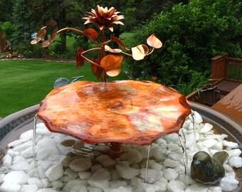 Garden Fountain Birdbath Pond Copper Art Lily Flower & Vines Copper Container Style Fountain