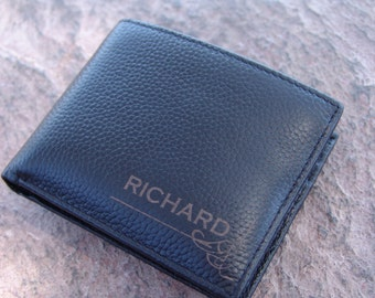 Custom engraved RFID protected mens leather wallet Personalized gift for him many slots
