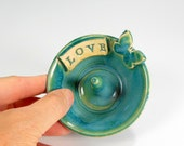 Ceramic ring holder dish, pottery ring bowl, stoneware ring catcher, pottery jewelry bowl with butterfly, LOVE ceramic jewelry bowl