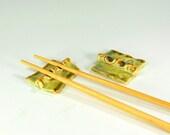 Ceramic chopstick holders, pottery chopstick rests, stoneware chopstick rests, ceramic chopstick rests, green and amber glaze set of 2