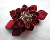 Kiss of Fire Red Kanzashi Flower Hair Clip