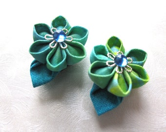Tiny Tropicals Miniature Kanzashi Flower Snap Clip Pair