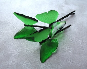 Glimmer of Green Resin Butterfly Hair Pins