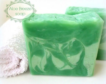 ALOE BREEZE soap - made with Aloe Vera and Coconut Milk - hot process by Bonny Bubbles