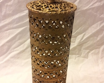 Vintage gold metal 1960's hair spray cover 10 inches tall 3 in. wide