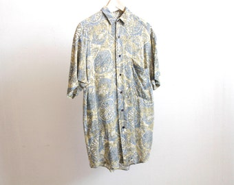 VERSACE style 90s RAYON button up shirt