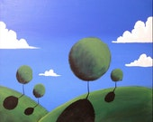 "32 x 48 "" landscape original tree painting canvas wall art sculpture ""Eden"" custom edition for Sheila Seshadri  32 x 48"""