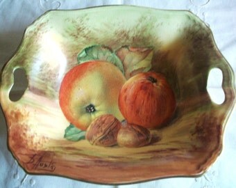 Royal Winton Fruit Grimwades Limited 5189 Made in England, Pottery Nut/Candy Dish Hand Painted and Signed by B. Austin
