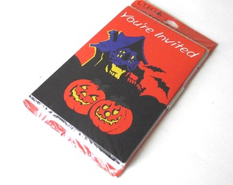 Halloween Party Invitations, Vintage Package of Cleo Cards with Envelopes
