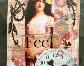 Just Feel Another Heartfelt Artist Trading Card Etsy Artist Popular On Etsy ACEO Original Limited Edition Recovery Cards Psychology Therapy
