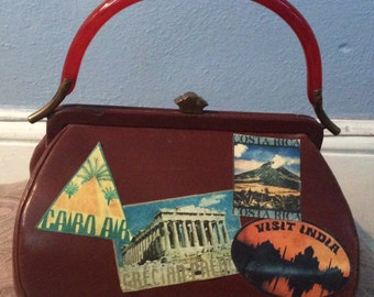 Vintage leather handbag with Bakelite handle