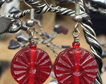 Vintage Art Glass / Red Hard Candy Earrings