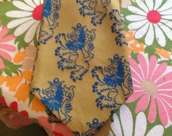 Vintage Lion Rampant Cravat Tie Necktie Beau Brummel