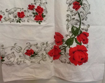 Vintage Tablecloth Red Roses Love Romance Valentines Day