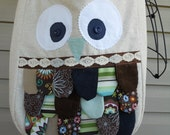 Owl Purse Tote Bag Feathered Natural Burlap with Brown Mint Aqua Blue Feathers
