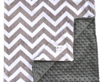 Minky Blanket - Charcoal Grey & White Double Minky Baby Blanket, Chevron Blanket, Baby Shower Gift, Custom Blanket, Gender Neutral