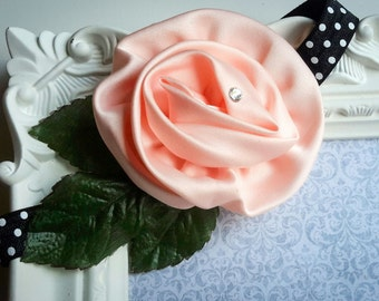 Peach Satin Rose Headband, Rose Headband. Boho Headband, Satin Boutique Bow Headband, Photo prop,