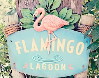 Flamingo prints, bathroom art, flamingo decor, sign photography, beach cottage art, pink aqua bathroom, flamingo sign, flamingo art photo