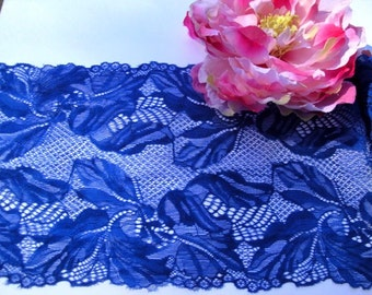 "7"" Wide (18 cm) Stretch Dimensional Blue Scalloped Lingerie Tulle Lace Trim Floral Pattern S122 FJT3"