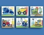 construction art - busy builder nursery art - children art prints - construction trucks artwork - construction wall art decor - boy nursery