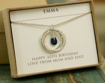 30th birthday gift, blue sapphire necklace, September birthstone necklace, 3 interlocking rings necklace, friendship necklace - Lilia