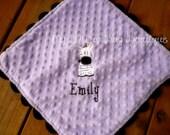 Lil lovey blanket baby girl zebra- Personalized Minky Baby blanket- lavender and black lovey blanket