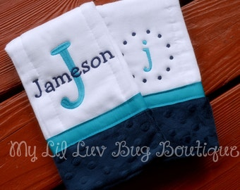 Personalized Burp cloths - set of two prefold diaper-  navy blue and turquoise blue