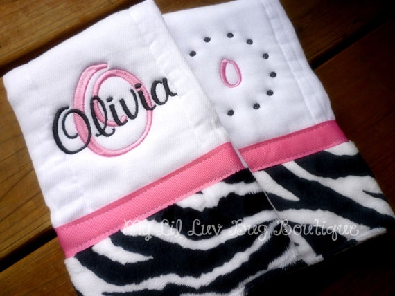 Burpcloths set of two- personalized hot pink and black zebra print- prefold diapers