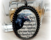 Large Pendant Necklace Gothic Jewelry Edgar Allan Poe The Raven Cameo Necklace Cameo Jewelry Gothic Wife Cabochon Necklace
