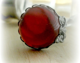 Red Gothic Ring Vampire Jewelry Cabochon Ring Gothic Ring Garnet Red Vampire Ring Gothic Jewelry Romantic Jewelry Birthday Gift for Girl