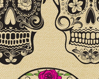 Calavera from David Textiles - Full or Half Yard Day of the Dead Style Skulls Black and Tan Roses Pink Blue