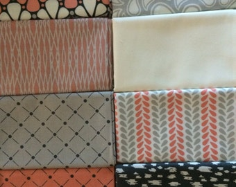 Zoey from Camelot Cottons - 8 Fat Quarter or Half Yard Bundle Coral Pink, Gray, and Cream Modern Fabric